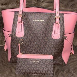 Michael Kors Purse & Matching Wallet (Brown/Pink)